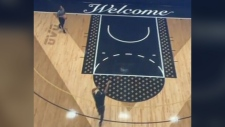 Drake shows off his new home's private basketball