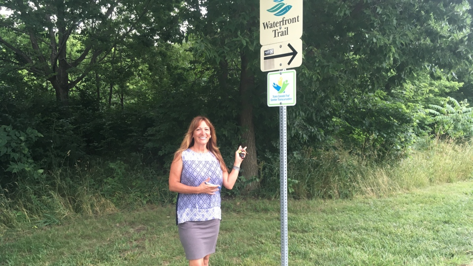 Catherine Murphy wants coyote warning signs at Malden Park in Windsor, Ont., Tuesday, July 16, 2019. (Bob Bellacicco / CTV Windsor)