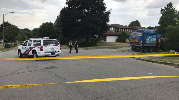 Emergency crews respond to reports of a collision near Cliffwood Road, near Don Mills Road and McNicoll Avenue, on July 16, 2019. (Craig Wadman/CTV News Toronto)