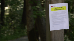 Warnings are posted around SFU's campus alerting students to a recent assault.