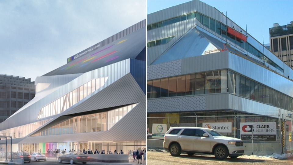 A comparison between an artist's rendering if Edmonton's Stanley A. Milner Library and the actual building, which is still under construction. (Edmonton Public Library / CTV Edmonton)
