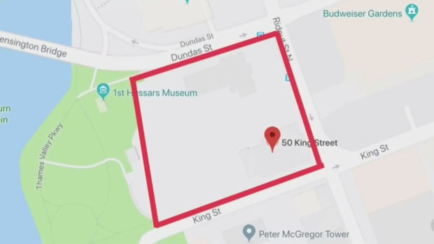 A map indicates the area involved in a potential land deal that could bring significant change to the riverfront and downtown London, Ont.