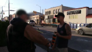 Justin Payne confronts a man who he says was trying to lure a child over the phone. (Justin Payne / YouTube)