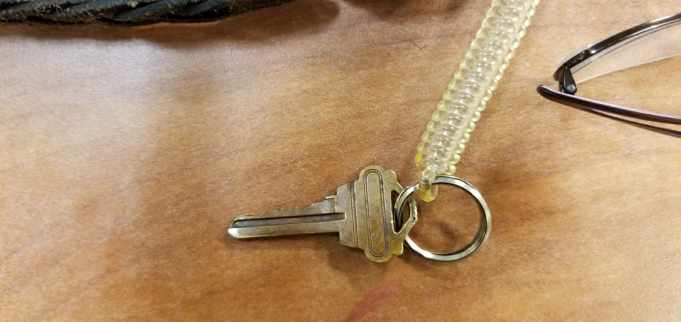 A key chain, which was found near the victim of a collision in the city's Hillcrest Village, is seen in this photograph. (Toronto Police Services)