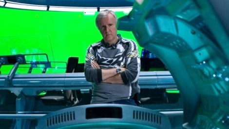 James Cameron stands behind a set piece for 20th Century Fox's highly-anticipated film 'Avatar'