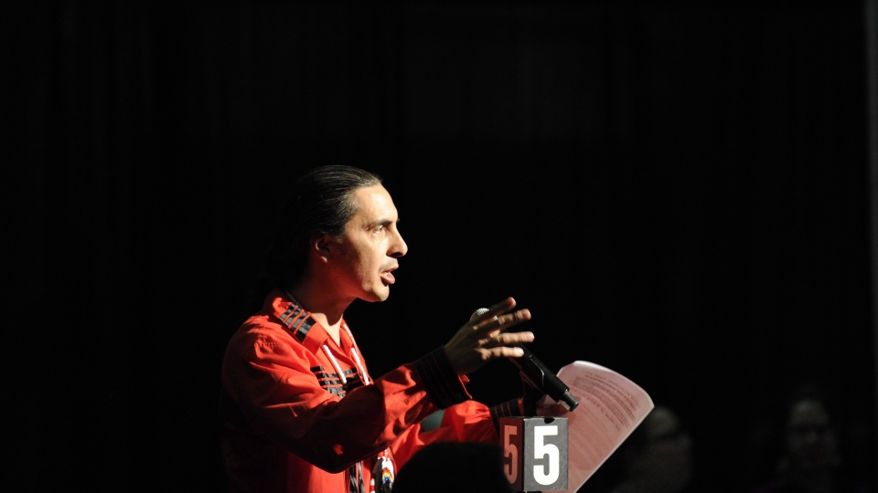 Arlen Dumas, Grand Chief of the Manitoba Assembly of Chiefs, argues in favour of voting for a resolution to replace all commissioners on the National Inquiry into Missing and Murdered Indigenous Women and Girls during the Assembly of First Nations' 38th annual general meeting Regina, Sask.on July 27, 2017. THE CANADIAN PRESS/Mark Taylor