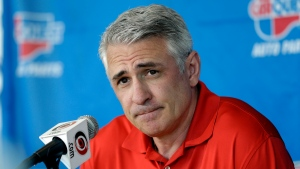 In this May 5, 2014, file photo, Ron Francis, at the time the general manager of the Carolina Hurricanes, takes questions from members of the media during a news conference in Raleigh, N.C. (AP Photo/Gerry Broome, File)