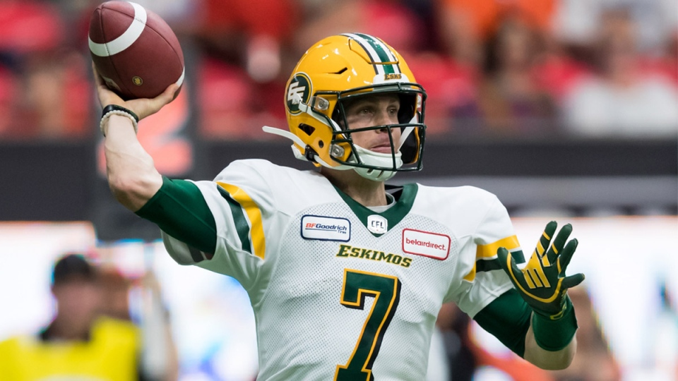 Edmonton Eskimos quarterback Trevor Harris passes during first half CFL football action against the B.C. Lions, in Vancouver, on Thursday, July 11, 2019. THE CANADIAN PRESS/Darryl Dyck