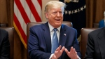 President Donald Trump speaks during a Cabinet meeting in the Cabinet Room of the White House, Tuesday, July 16, 2019, in Washington. (AP Photo/Alex Brandon)