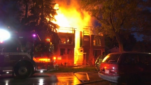 Two homes under construction in the Whyte Avenue area are on fire Tuesday night.