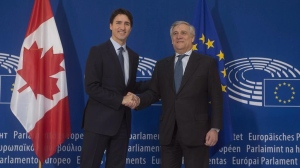 Canadian Prime Minister Justin Trudeau is greeted by the President of the European Parliament Antonio Tajani as he arrives at the European Parliament in Strasbourg, France, Thursday, Feb. 16, 2017. THE CANADIAN PRESS/Adrian Wyld