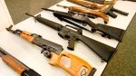 Assault style rifles are on display at a news conference in Sanata Ana, Ca. on Feb. 20, 2013. THE CANADIAN PRESS/AP, The Orange County Register, Jebb Harris