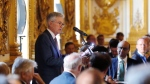U.S. Federal Reserve Chairman Jerome Powell speaks during a dinner hosted by the Bank of France in Paris, Tuesday, July 16, 2019. (AP Photo/Michel Euler)