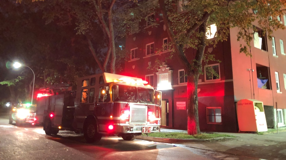 Winnipeg Fire Paramedic Service is on the scene of multiple fires on Furby Street. CTV photo/Alex Brown