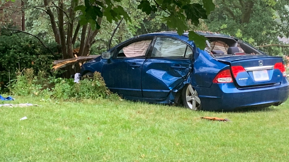 Police say a man has been charged with impaired driving after a car crashed into a house in Waterloo. (Jeff Pickel / CTV Kitchener)