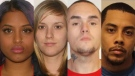 (From left to right) Ashley Nazir, Jessica Moore, Jacob Cherry, and Devon Victor are seen in this composite image. (York Regional Police)