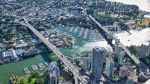 The Burrard Bridge and Granville Street Bridge are seen from the air in June 2019. (Pete Cline / CTV News Vancouver)