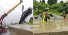 A car is hoisted out by a tow truck after being swamped by flood waters on Highway 401. (Twitter / @SonnySubra)
