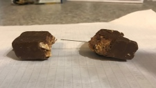 A needle was found inside a candy bar on Sun., July 14, 2019 in Angus: Nottawasaga OPP