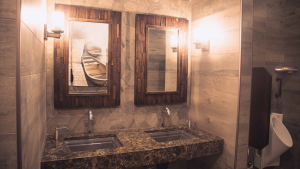 The restroom of a Shell gas station in Lac La Biche, Alta. is shown in an image provided by Cintas.