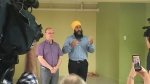 As part of his four-day stop in Quebec during his summer tour of Canada, NDP leader Jagmeet Singh laid out his party's platform for medical services. (CTV Montreal/Kelly Greig)