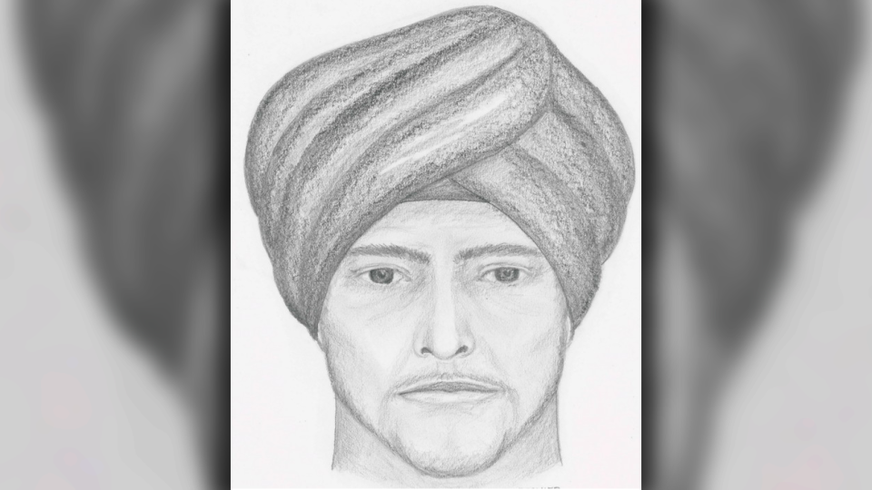 Burnaby Mounties have released a suspect sketch of a man wanted in connection with an assault on the SFU campus Sunday evening. (Handout)