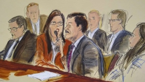 "This courtroom sketch shows Joaquin ""El Chapo"" Guzman, second from right, as he listens to an interpreter in federal court, in New York Wednesday, July 17, 2019. (Elizabeth Williams via AP)"
