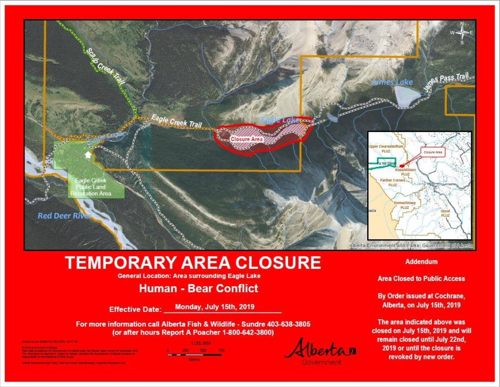Eagle Lake area closed after grizzly spotted near an animal carcass