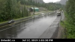 Highway 1 east of Revelstoke is seen in this DriveBC highway cam image on July 17, 2019. A nearby dump truck crash closed the highway in both directions.