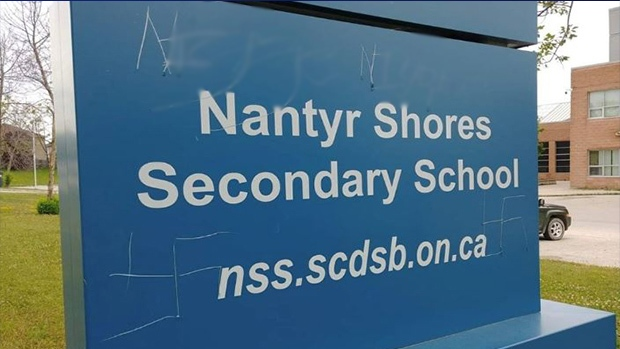 Vandalism at Nantyr Shore Secondary School in Innisfil is under investigation by South Simcoe Police on Tues., July 16, 2019 (Photo Cred: Everett Tremblay/Facebook)