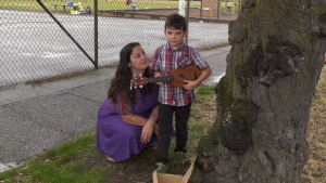 Angela Carmichael and her son Finn, a student at George Jay Elementary. (CTV Vancouver Island)