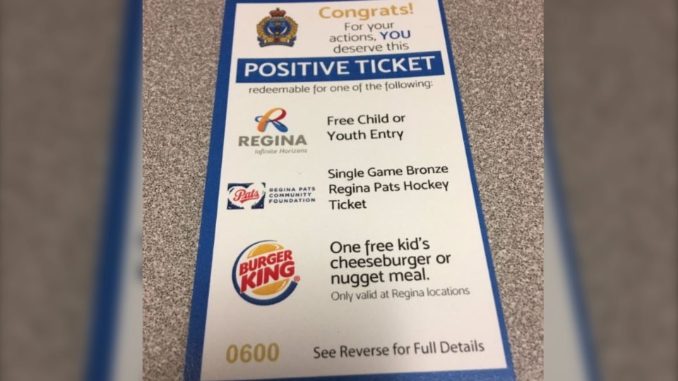 "The Regina Police Service is trying to improve relationships with youth and officers by handing out ""positive tickets"". (Regina Police Service)."