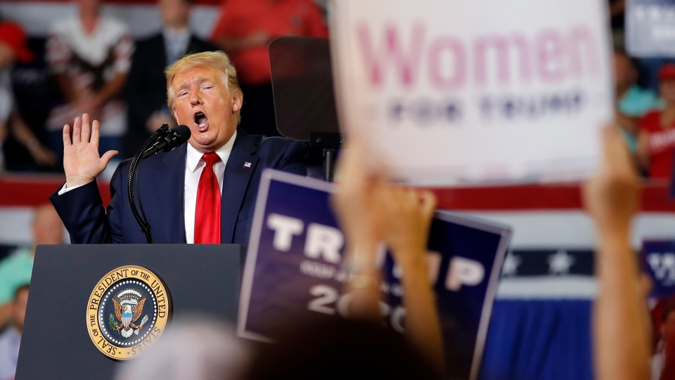 U.S. President Donald Trump speaks at a campaign rally at Williams Arena in Greenville, N.C., Wednesday, July 17, 2019. (AP Photo/Carolyn Kaster)