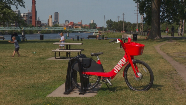 A new Uber JUMP bike is seen in Montreal.