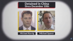 A Conservative attack ad featuring the names and faces of two Canadian citizens detained in China has been pulled after one of the men's families complained about the clip.