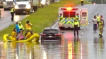 Firefighters had to rescue people from vehicles after flooding on Yellowhead Trail Wednesday night.
