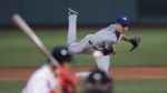 Toronto Blue Jays starting pitcher Aaron Sanchez delivers during the first inning of a baseball game against the Boston Red Sox at Fenway Park in Boston, Wednesday, July 17, 2019. (AP Photo/Charles Krupa)