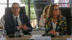 Melinda Gates, right, and U.S. Treasury Secretary Steve Mnuchin attend a meeting at the G-7 Finance in Chantilly, north of Paris, on Thursday, July 18, 2019. (AP Photo/Michel Euler)