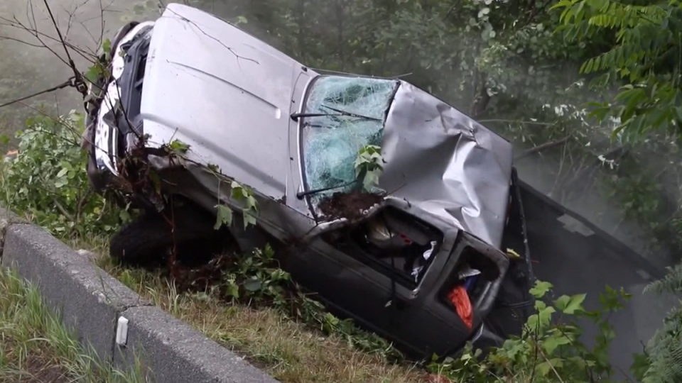 A damaged vehicle is seen in Maple Ridge on Wednesday, July 17, 2019.