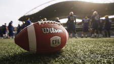A CFL ball is photographed at the Winnipeg Blue Bomber stadium in Winnipeg on May 24, 2018. (John Woods / THE CANADIAN PRESS)