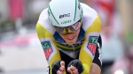 Rohan Dennis competes in the Giro d'Italia cycling race, on May 22, 2018. (Daniel Dal Zennaro / ANSA via AP)