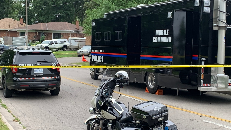 A mobile command centre at the scene of a shooting