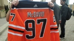 A Connor McDavid jersey with a fake signature is displayed by Edmonton police on July 18, 2019. (Amanda Anderson/CTV News Edmonton)