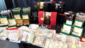 York Regional Police show items seized during a major crime bust while speaking at a news conference held on July 18, 2019. (CTV News Toronto / Ted Brooks)