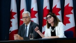 Minister of Seniors, Filomena Tassi, and Stephane Lauzon, Parliamentary Secretary to the Minister of Veterans Affairs and Associate Minister of National Defence, comment on the Government's actions to make life more affordable for Canada's seniors during a press conference at the National Press Theatre in Ottawa, Ontario on Thursday, July 18, 2019. (THE CANADIAN PRESS/Sean Kilpatrick)
