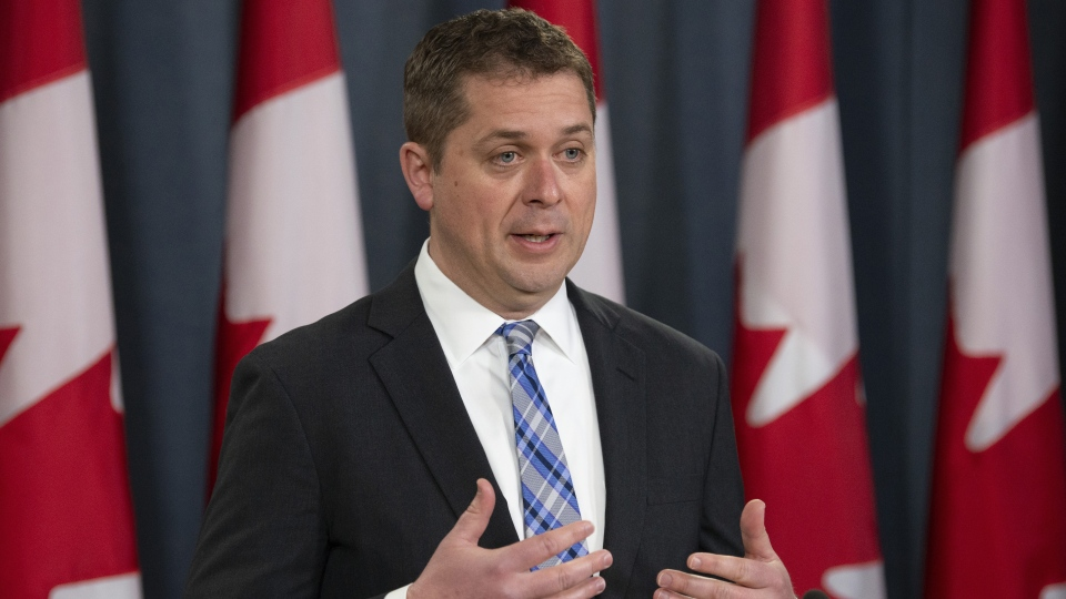Conservative Leader Andrew Scheer speaks during a news conference in Ottawa, Monday April 29, 2019. (THE CANADIAN PRESS / Adrian Wyld)