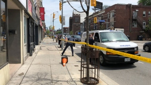 The scene of a suspicious death investigation on July 18, 2019 is seen near Bloor Street West and Havelock Avenue. (CTV News Toronto / Peter Muscat)