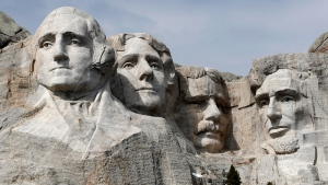 This March 22, 2019 file photo shows Mount Rushmore in Keystone, S.D. (AP Photo/David Zalubowski, File)