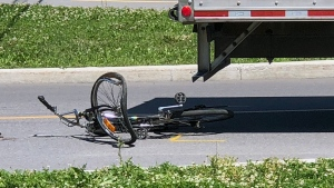 A 17-year-old cyclist was transported to hospital with critical injuries after being run over by a cube truck on the South Shore on July 18, 2019 (CTV Montreal/Jason Clarke)