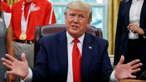 U.S. President Donald Trump speaks during a photo opportunity with members of the 2019 U.S. Special Olympics athletes and staff, in the Oval Office of the White House, Thursday, July 18, 2019, in Washington. (AP / Alex Brandon)